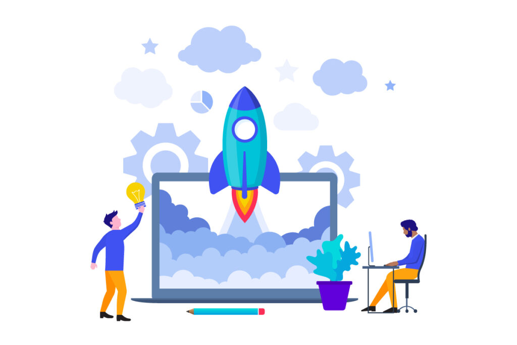 growth marketing services illustration where a rocket blasts off from a laptop depicting growth outcomes